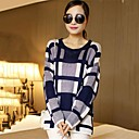 Womens Plaid ead Round Neck Sweaters