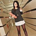 de las mujeres ouzhuoni nuevos europeos falsos coreano 2 piezas de la camisa de manga larga de gran patio delgada floja