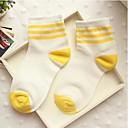calcetines bromista raya del caramelo de tres barras de algodón medias de Corea del Sur de la mujer zhuoshang a692 de color amarillo brillante