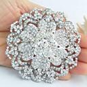 aleación de moda de diamantes de imitación de cristal en tono plateado flor de la boda de las mujeres broche nupcial