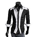 Fengshang Hombre Nuevo estilo Bodycon camiseta contraste Color Negro