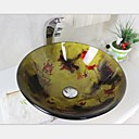 European Colors Tempered Glass Vessel Sink With Hot And Cold Faucet Set