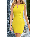 Dresss Womens V Neck Yellow Fitted Dress TM1343