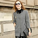 Womens Round Collar Loose Tweed  Coat