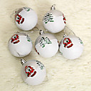 Set Of 6 Christmas Ornaments Painted Ball ,Plastic,8cm