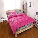 HC  Flannel Duvet Cover Set  4 Pieces Solid and Zebra Pattern