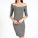 E-smile Women's Bateau Check Solid Color Dress