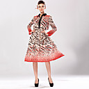 contraste de la manera del color leopardo estampado floral camisa de vestir de las mujeres luomeidisha