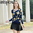 MiShow Womens Round Collar  Contrast Color Long Sleeve Bodycon Sweaters