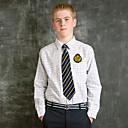 camisa Tattersall blanco y azul de los uniformes de la escuela niño