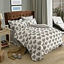 HC  Thicken Cotton Sanded Fabric Duvet Cover Set  4 Pieces  Heart  Pattern