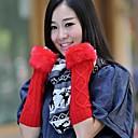agujero rómbico largo del lado de las mujeres con lana de tejer imitación piel guantes calientes