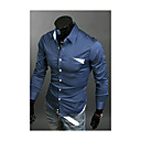 Brother New Contrast Color Causal Shirt  9048(white,dark blue,light blue)