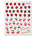 5PCS Colorful Strawberry Top Grade Nail Art Stickers