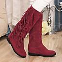 altas botas de los zapatos de las mujeres cuña punta redonda de la rodilla con el talón de la borla más colores disponibles