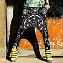 Womens Elastic Waist Hexagram Pattern Harem Pants
