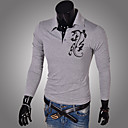 ZOMOT Men's Long Sleeve Slim Lapel Neck Fashion Causual Print T-Shirts
