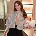 abrigos de piel temperamento delgado cuello redondo de impresión de la moda causual de manga larga de las mujeres Jamesina