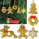 6pcs arcilla polimérica colgante manual de navidad de santa ahora animales, adornos de árbol de navidad