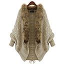 yzis abrigo de la manga del batwing suelta pieles decoradas de las mujeres