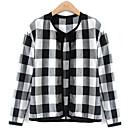 CCstory Women's Pan Collar Grid Long Sleeve Cardigan