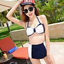 alta cintura de las mujeres de las mujeres del bowknot qearl playa conjunto bikini traje de baño