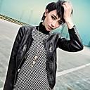 la moda de piel sintética chaqueta de cuero de imitación chaqueta de manga larga para las mujeres