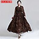 AILAIKE Womens Fall and winter Leopard Maxi Dress Vintage Chiffon Dress