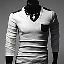 uamp;camisa de manga larga del color del contraste de la manera ocasional de los hombres f