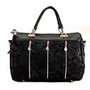 Erlen Womens Korean Style Zippers Lace Tote/Crossbody Bag(Black)