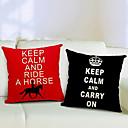Set of 2 Keep Calm Cotton/Linen Decorative Pillow Cover