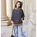 WILD CAT Women's Long Sleeve Loose Fit High Neck Print Thicken Causual Knitwear Sweater