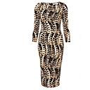 mokio causal coreano de la manera del leopardo vestido delgado de la mujer