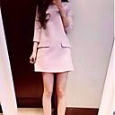Aiwei ajuste delgado de la mujer bolsillos vestido de manga 3/4