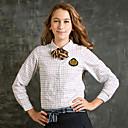 camisa Tattersall blanco y azul de los uniformes de la escuela niña