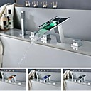 Charmingwater Brass Chrome Finish LEDWaterfall Tub Faucet with Hand Shower