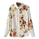 camisa de manga larga de las mujeres joetina europeo sencillo estampado floral