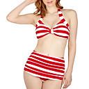 alta cintura playa raya conjunto de las mujeres de las mujeres del traje de baño bikini qearl vendimia