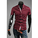 Brother Fashion Cotton Causal Slim Short Sleeve Shirt  C80(light blue,black,wine,navy blue,white)