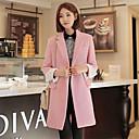 de manga larga de cuello delgado de la solapa de la moda de tweed temperamento abrigos de color puro de la mujer Muyan
