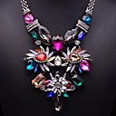 JQ Jewelry Womens Mulitcolor Gems Exaggeration Statement Necklace