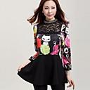 Womens Slim Collar Animal Print Dress