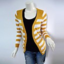 Women's V Neck Striped Contrast Color Cardigans