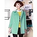 KissTiesWomens Slim Solid Color Lamb Fur Tweed Long Coat