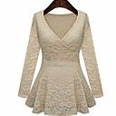 colmena del color sólido V cuello de la mujer alc dressruffle vestido v cuello de color sólido