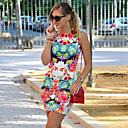 anny vestido de la mujer europea de moda de la vendimia delgada cintura sin mangas