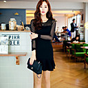 de manga larga de la moda femenina smqn volantes vestido de color sólido