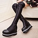 causual moda cómoda de cuero temperamento tacón bajo las botas de plataforma de las mujeres winble