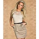 ToproM L Plus Size 2013 Women Black Floral Embroidery Bodycon Mini Dress OL Office Lady Casual Dress 9031(khaki)