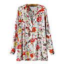 algodón estampado floral camisa de manga larga encima de la mujer joetina